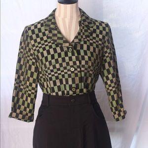 "VTG ""Sweet Suit"" Checkered Green Blazer Top"